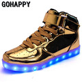 New 2017 Big Size 35-46 USB LED Light Shoes Unisex 7 Colors Glowing Fashion Led Shoes Flats High-top Adults Lumineuse Men Shoes