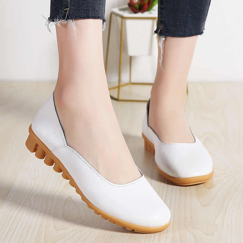 f739d2f94ca LeFoche 2019 Women s Leather Loafers Ballet Flat Casual Moccasins Wild  Driving Oxfords Breathable Slip on Walking