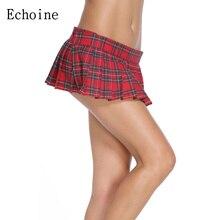 Echoine Schoolgirl Plaid Pleated Sexy Mini Skirt Plus Size Autumn Winter Summer Vintage Saias Femininas