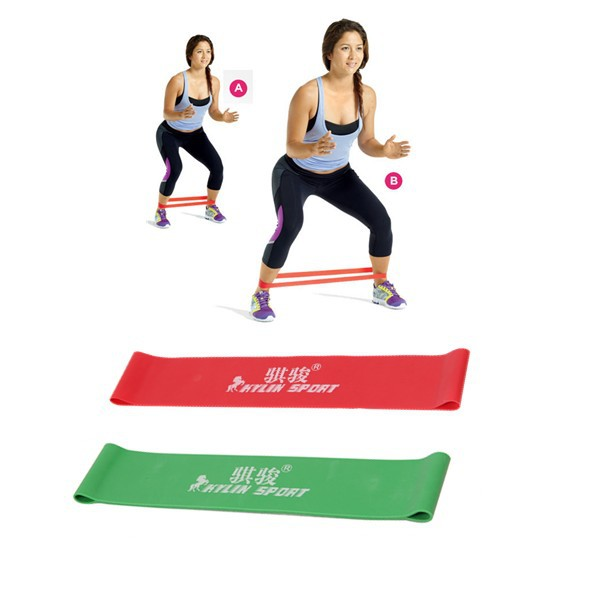 Green and red combination latex resistance bands workout excercise pilates yoga bands loop wrist ankle elastic belt