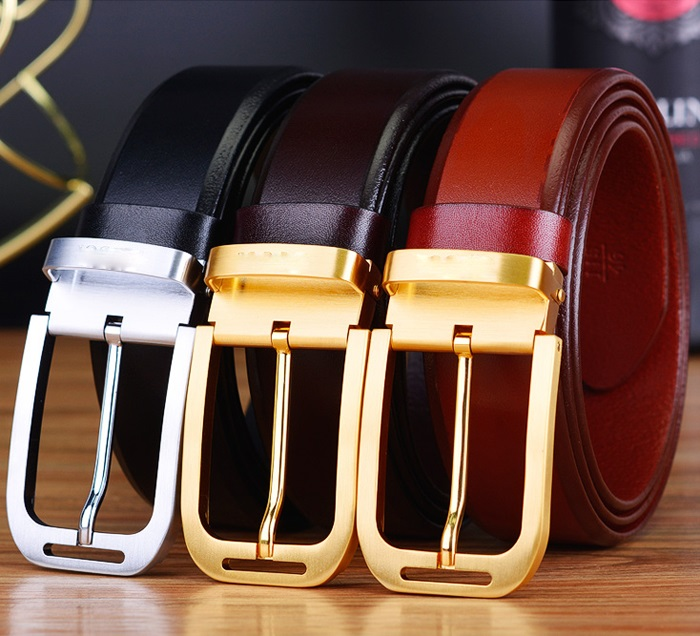 2019 new design high quality men   belt   genuine leather strap trousers first layer ciartuar brass gold pin buckle free shipping