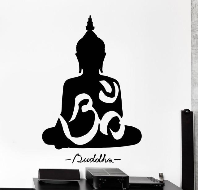 Om Yoga Meditating Buddha Decal DIY Removable Art Wall Sticker Mural Design  House Decoration For Living