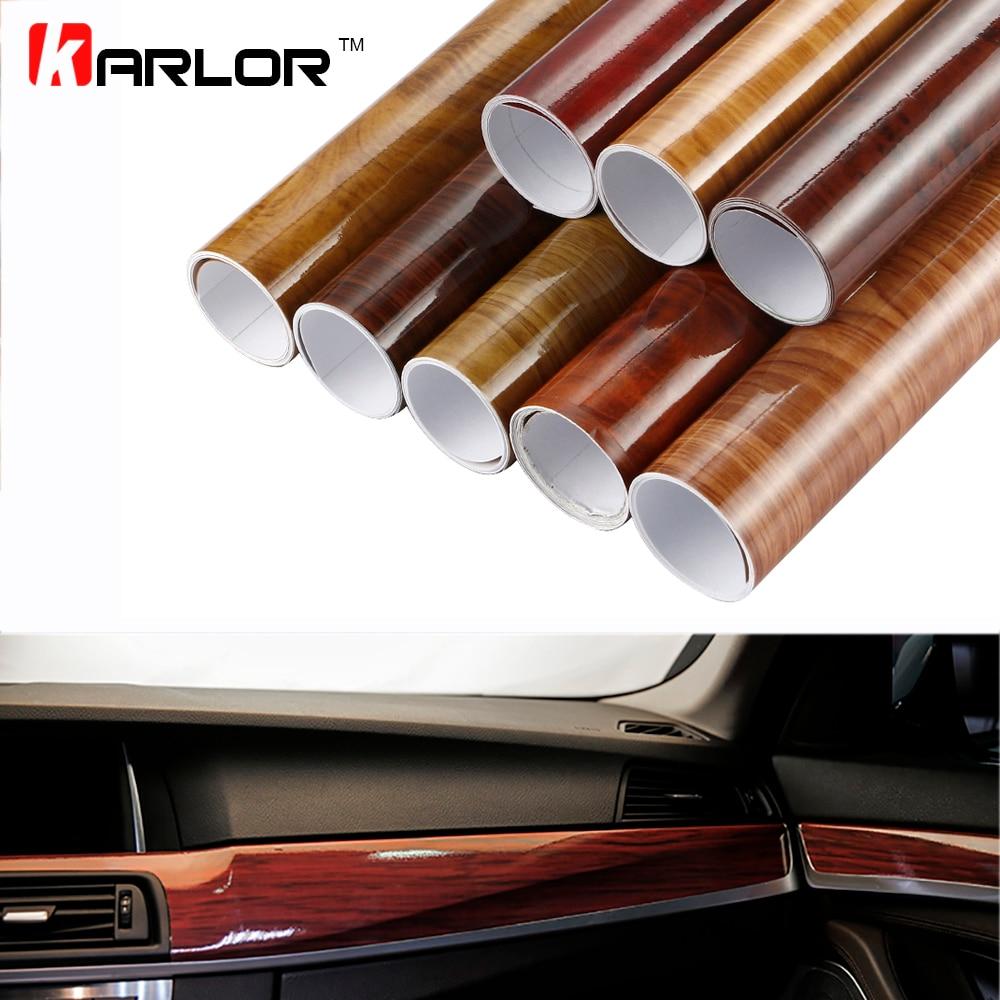 30x100cm Glossy PVC Wood Grain Car Wrap Film Decal Wood Grain Textured Automobiles Internal Decoration Sticker DIY Car-Styling