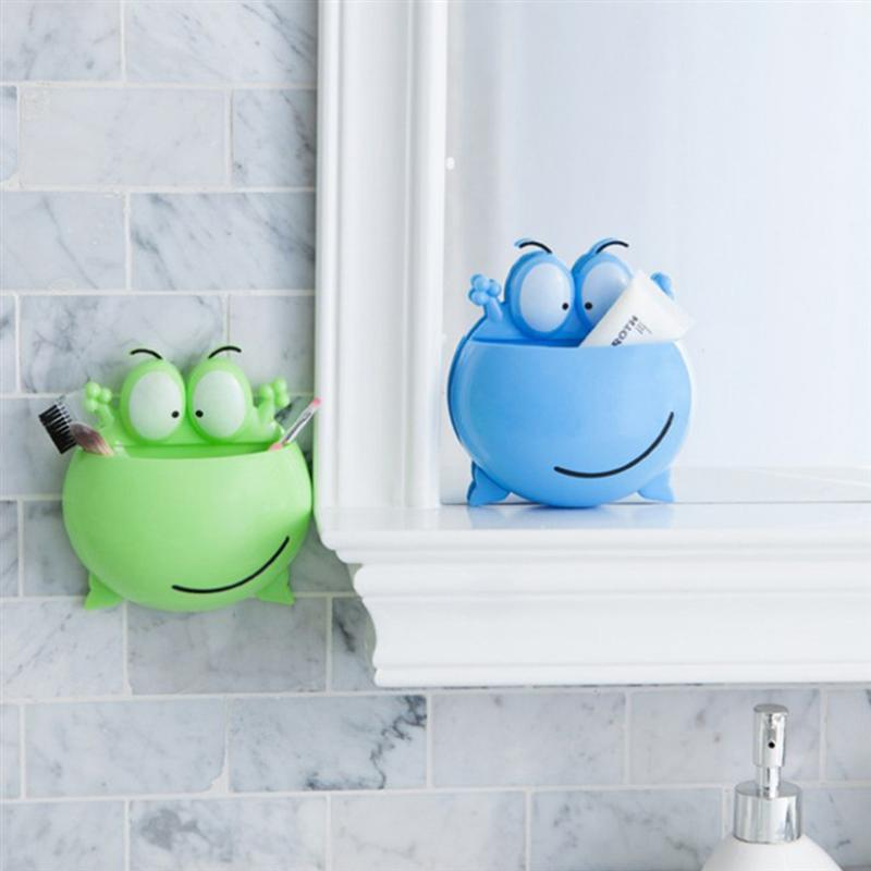 Image 5 - 3pcs Wall Mounted Toothbrush Holder Cartoon Big Eye Frog Design Toothbrush Organizer Rack For Home Bathroom (Green+Blue+Pink)-in Toothbrush & Toothpaste Holders from Home & Garden