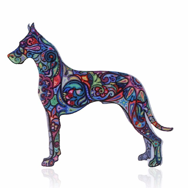 Acrylic Dog Brooch For Women Cat Brooch Collar Pins Corsage Printing Bohemia Ethnic Pet Animal Brooch Badges Jewelry Accessories