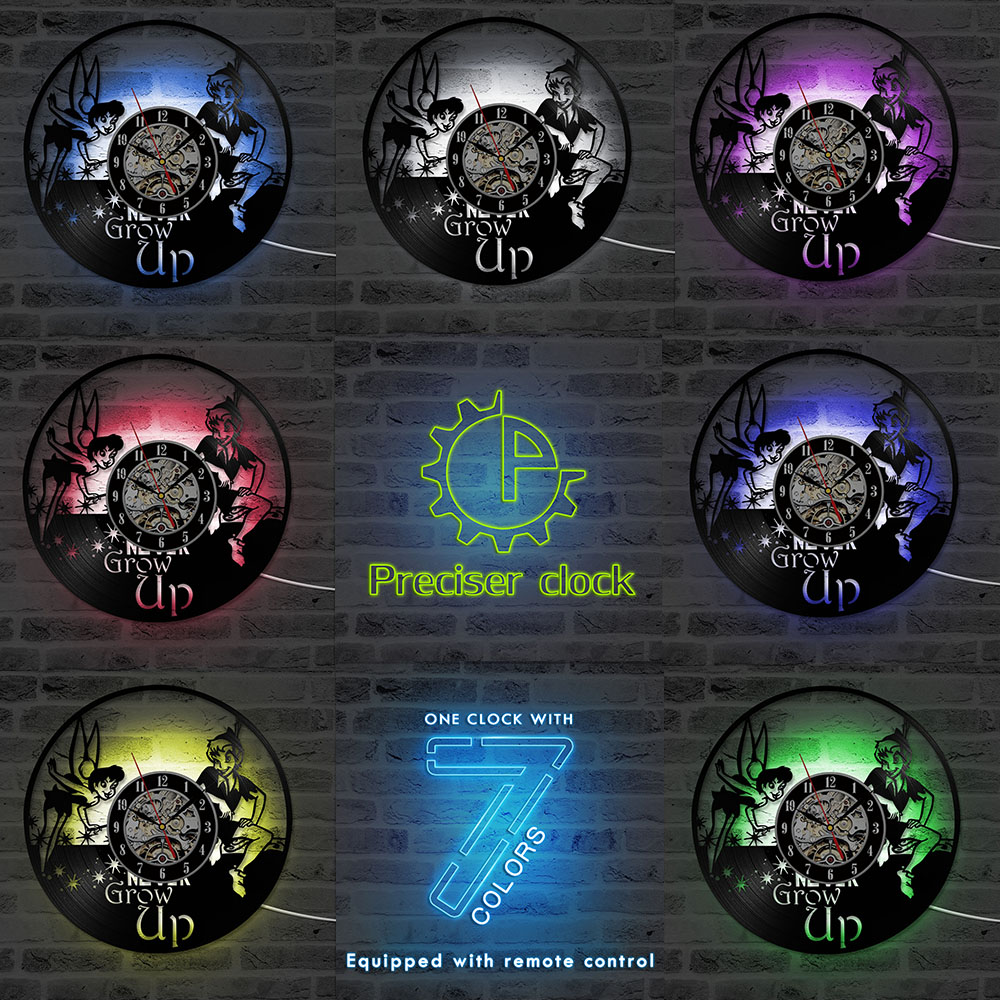 small resolution of peter pan wendy tinkerbell neverland vinyl lp record wall clock cartoon cd led hanging clock vintage kid room decor 3d art in wall clocks from home garden