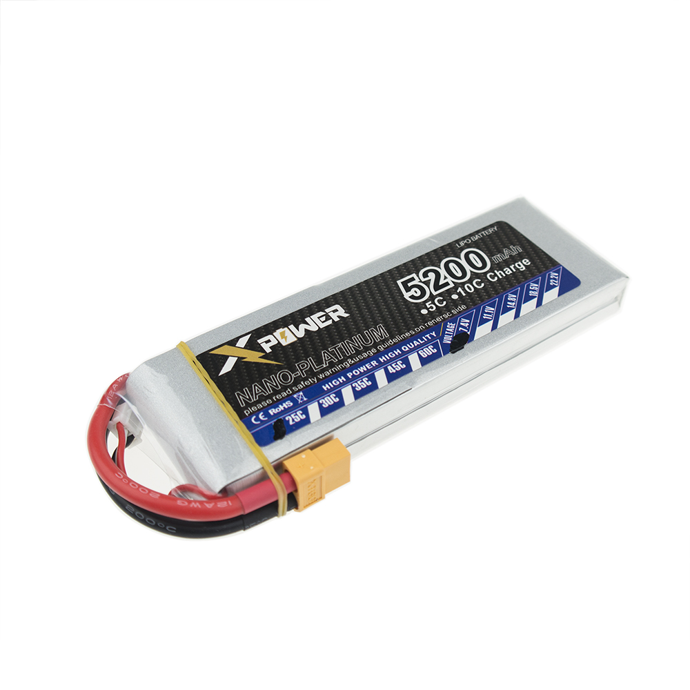 2 Pcs XPower <font><b>2S</b></font> 7.4V <font><b>5200mAh</b></font> 5000mah <font><b>Lipo</b></font> Battery 25C-35C XT60 T EC5 RC Battery Lithium-Polymer Batterie rc drone VS VOK image