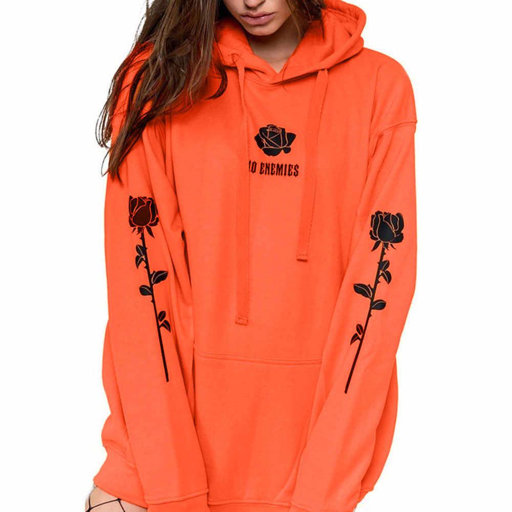 En liquidation meilleur prix pour outlet 2018 harajuku hoodie sweatshirt women Autumn Long Sleeve Hooded Fashion  Sweatshirt Print Rose Blouse survetement femme
