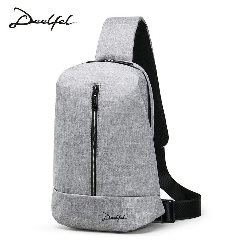 DEELFEL 2018 New Crossbody Bags Men Anti-theft Chest Bag pack USB Casual Messengers Bag Male Single Shoulder Strap Pack For Ipad