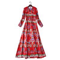High Quality 2017 Autumn And Winter New Women Red Classic Printing Round Neck Long Sleeve Dress