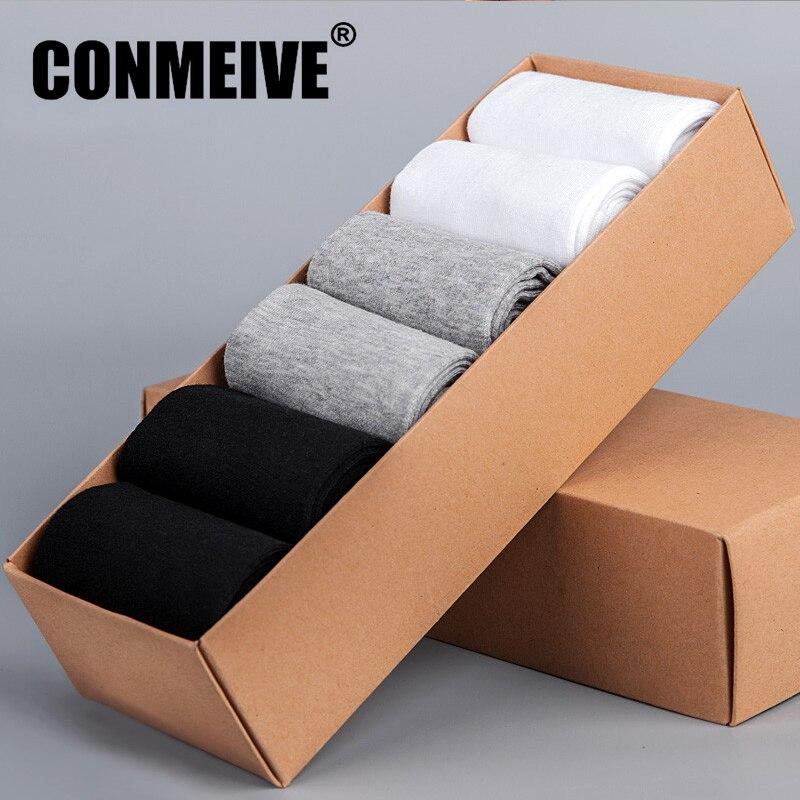 Brand Fashion Business Casual Socks Men Breathable Ankle Mens 100% Cotton Black White Autumn Winter Dress Short Socks 6 Pairs