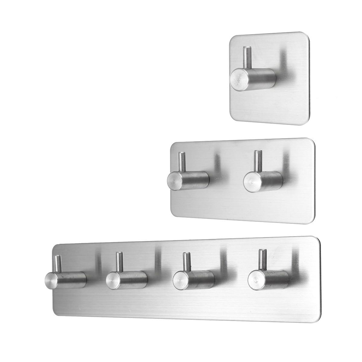 Newest Self Adhesive Wall Door Back Hooks Heavy Duty Stainless Steel Clothes Hanger Bathroom Kitchen Towel Rustproof Hook