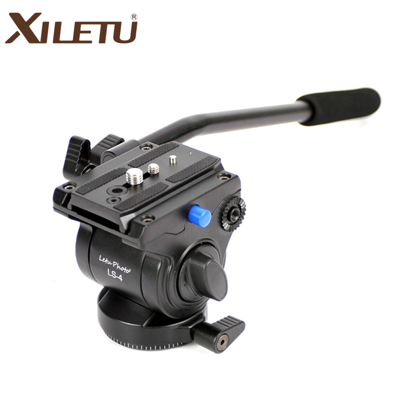 XILETU LS-4 Handgrip Video Photography Fluid Drag Hydraulic Tripod Head and Quick Release Plate For ARCA-SWISS Manfrotto spash video photography fluid drag head hydraulic tripod head quick release plate bubble levels panoramic shooting bird watching