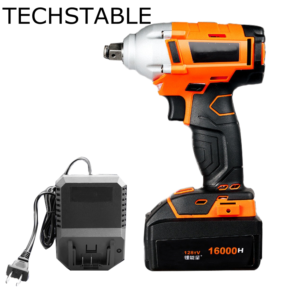 TECHSTABLE 128V 16000mA 1 Lithium Battery Cordless Electric Wrench Impact Socket Wrench Hand Drill Bit Hammer Installation Power цена