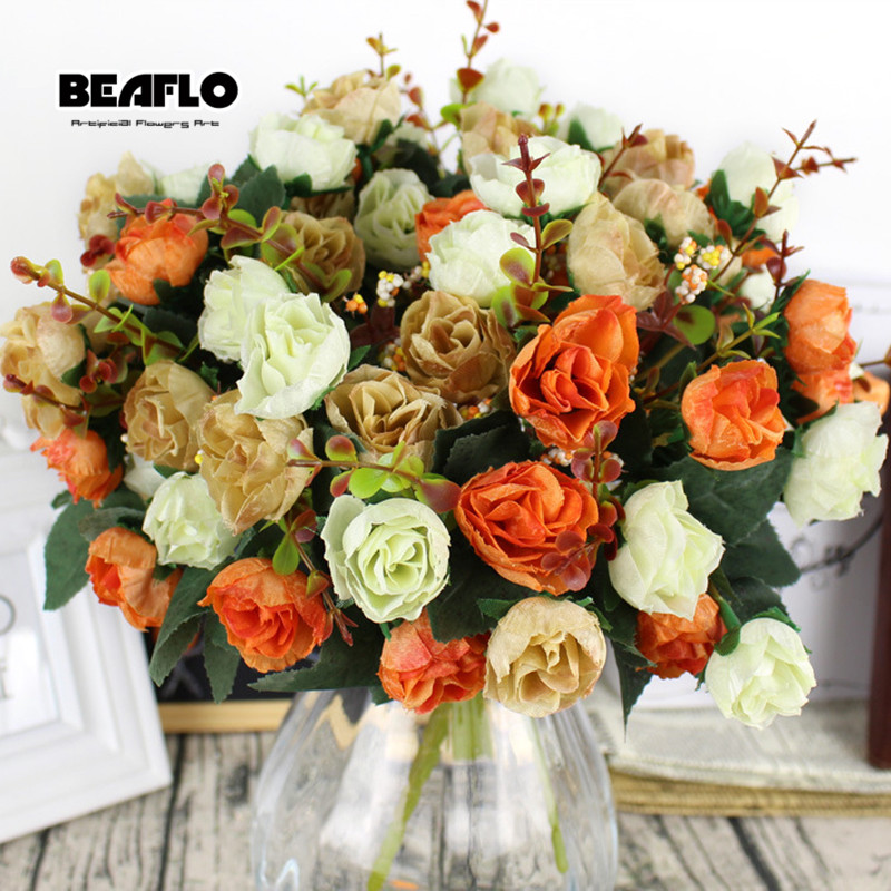 Image 3 - 1Bunch Fresh Artificial Rose Flowers 21 heads Romantic DIY Fake Silk floral for Wedding Party Home Decoration-in Artificial & Dried Flowers from Home & Garden