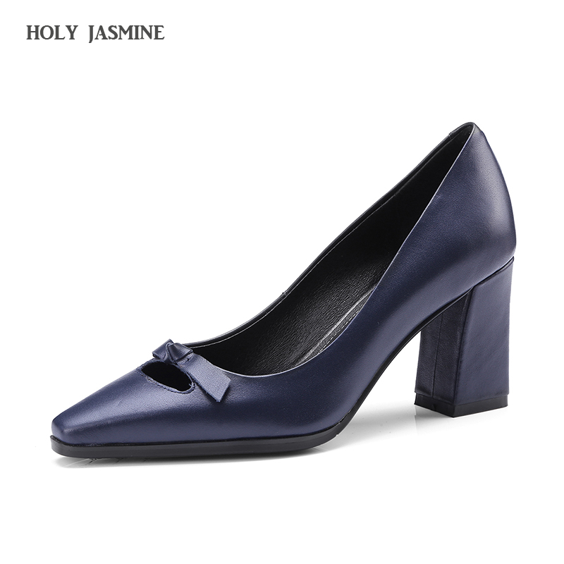 2018 Spring Genuine Leather High Heels Pumps Casual Fashion Women Pumps Square Toe Square heel Ladies Pumps Single Shoes Brand