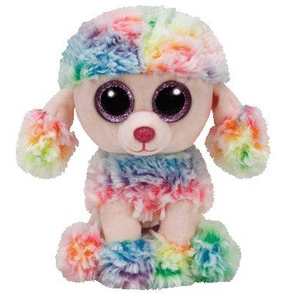 "Pyoopeo Asli TY Boo 10 ""25 Cm Pelangi Pudel Mewah Medium Bermata Besar Boneka Hewan Anjing Koleksi boneka Mainan dengan Hati:"