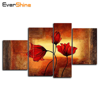 Needlework 5D DIY Diamond Painting Multi Pictures The Red Flowers Painting Embroidery Mosaic Full Square Drill