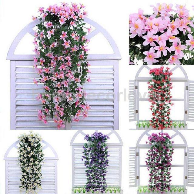 manojo de seda flor del lirio artificial de plantas colgantes guirnalda decoracin del partido - Plantas Colgantes