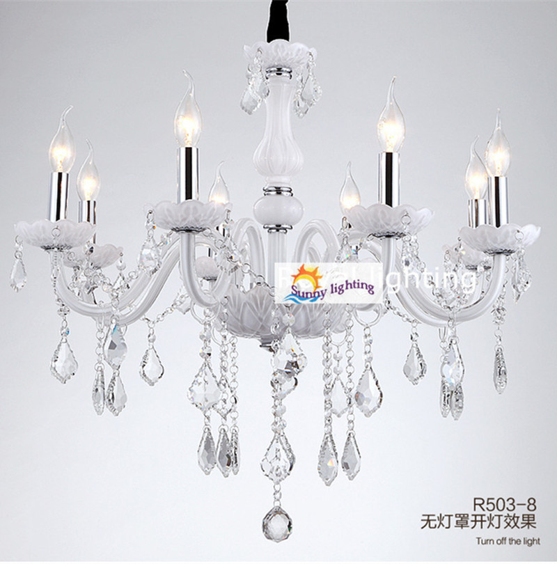 Restaurant white chandelier glass crystal lamp chandeliers 6 pcs Modern hanging lighting foyer living room bedroom art lighting modern crystal chandelier led hanging lighting european style glass chandeliers light for living dining room restaurant decor