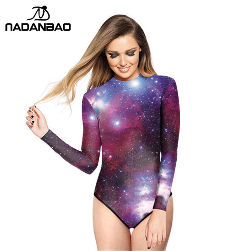 Жаңа келу One Piece Swimsuit Боялған Surf Suit Purple Galaxy Star Swim Suit Басып шығарылған Әйелдер Swimwear Loog Sleeve Zippered Y02006