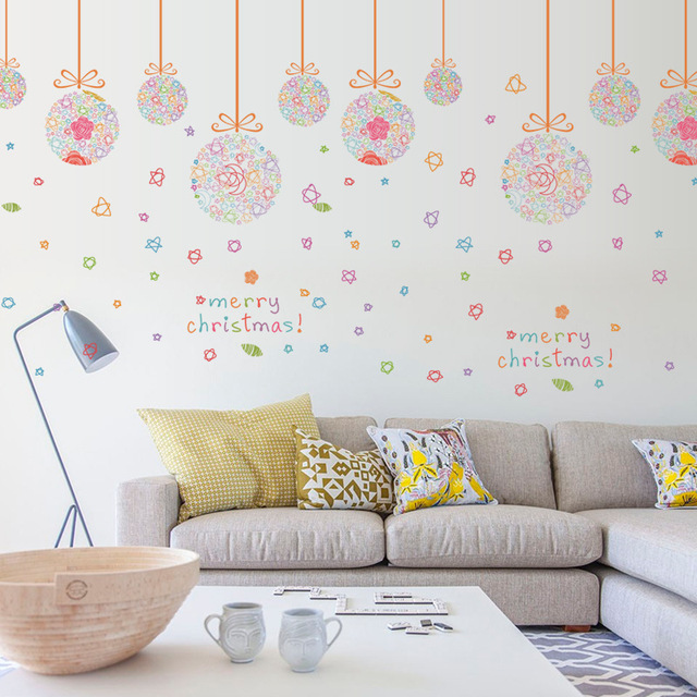 Colorful Hanging Balls Wall Stickers Christmas Ball Store Window Glass Decals Merry Decor
