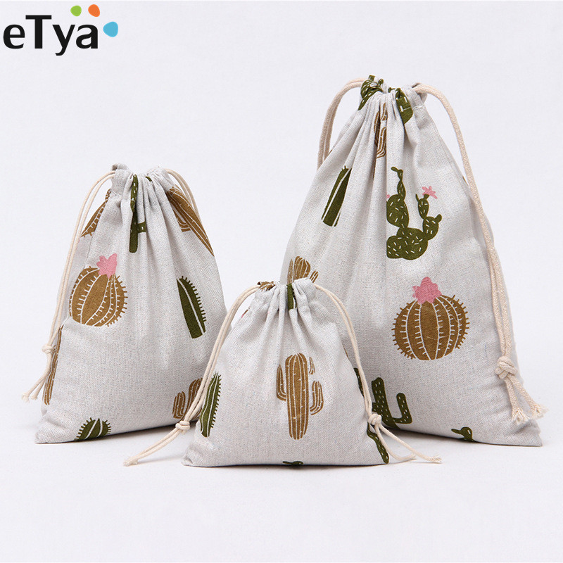 ETya Drawstring Bags Cotton Women Men Travel Clothes Shoes Bag Pouch Case