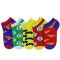 5 pares 1 Unidades Algodón de Alta Calidad de La Manera de Las Mujeres de Dibujos Animados Avengers Batman Carácter calcetines Del Tobillo Calcetines del Barco Calcetín Hombres venta al por mayor