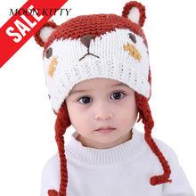 Luna Kitty 2018 otoño e invierno nuevo bebé niños y niñas doble Fox estilo  bebé sombreros de lana hecho a mano tejido lindo los . ea22d496d82