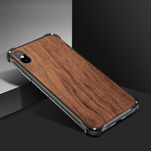 hot deal buy newest wooden case for iphone xs max xs x 8 7 plus case cover natural wood with metal frame for iphone xs max wood case iphonexs