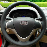 Hand Stitched Black Leather Steering Wheel Cover For Hyundai I30 2009 I30