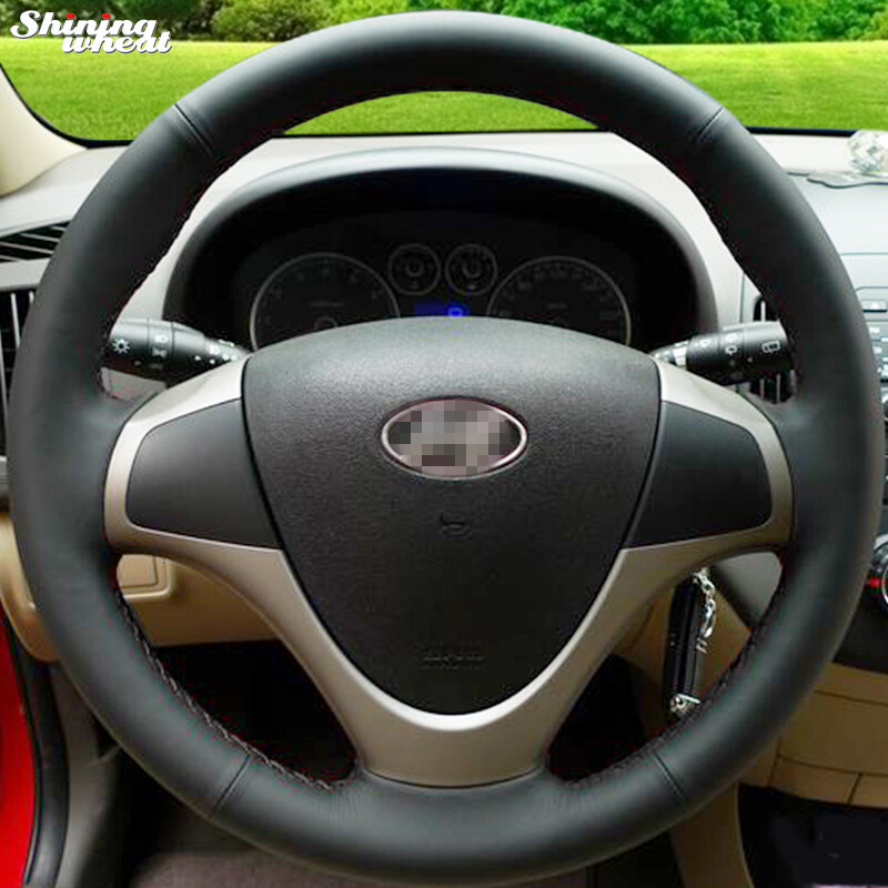 Shining wheat Hand-stitched Black Leather Steering Wheel Cover for Hyundai i30 2009 i30