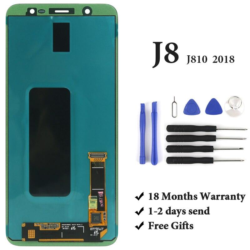 Pour Samsung J8 2018 OEM de catégorie d'affichage à cristaux liquides AMOLED avec l'assemblage d'écran tactile de numériseur pour l'écran d'affichage à cristaux liquides de Samsung J810 J810F