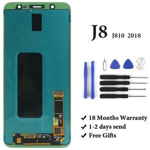 Image 1 - Samsung J8 2018 LCD ekran sınıf OEM AMOLED sayısallaştırıcı dokunmatik ekran meclisi Samsung J810 J810F LCD ekran