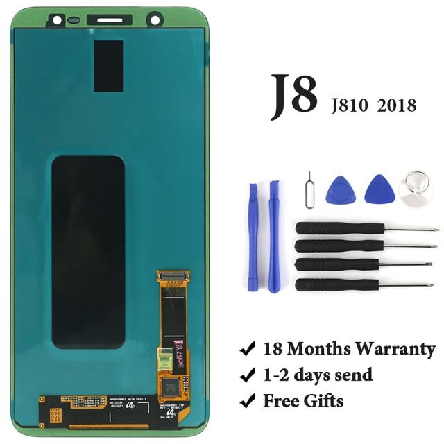 Samsung J8 2018 LCD ekran sınıf OEM AMOLED sayısallaştırıcı dokunmatik ekran meclisi Samsung J810 J810F LCD ekran