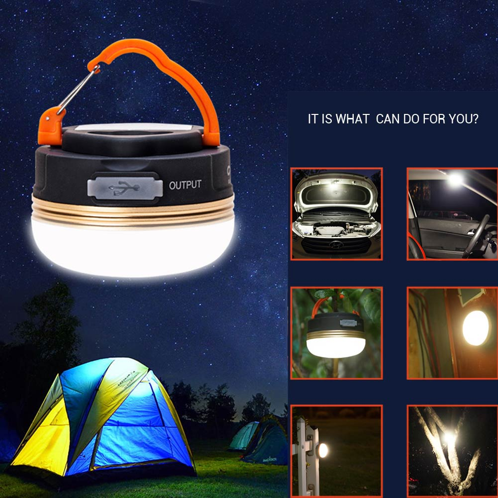 Waterproof USB Rechargeable /Battery Type Outdoor Emergency LED Flashlight Bulb Light Portable Hook Camping Lanterna Tent Lamp