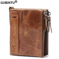 GUBINTU Genuine Leather Men Wallets Double Zipper Short Coin Purse Small Vintage Wallets High Quality Brand