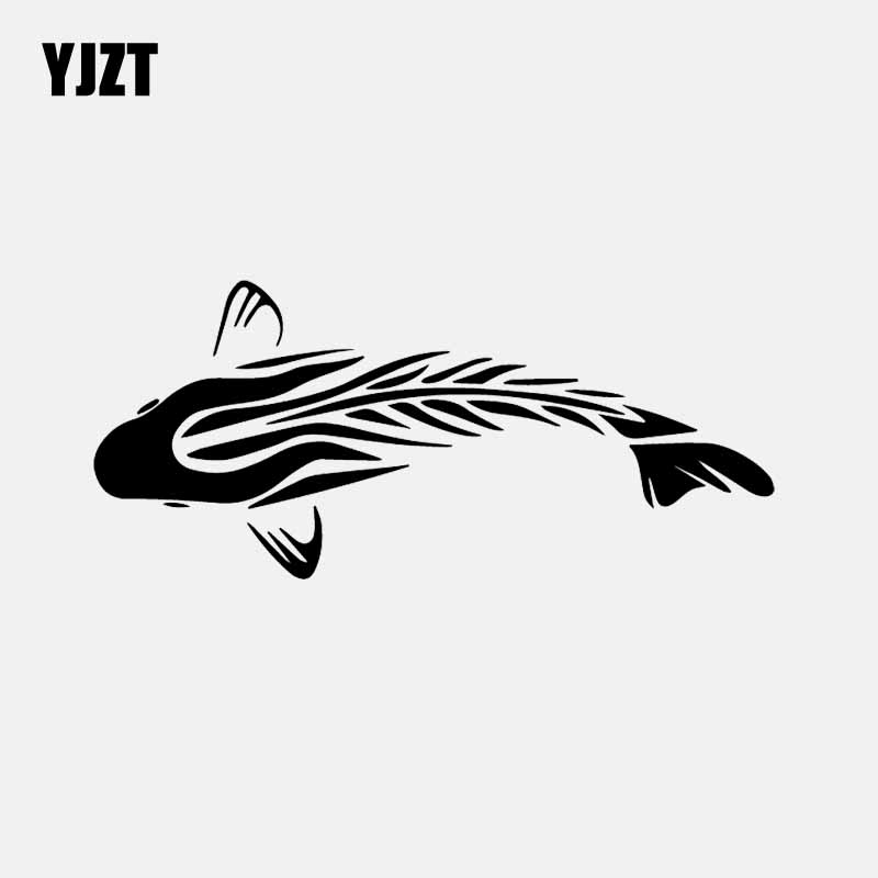 YJZT 16.8CM*7.4CM Tribal Carp Vinyl Fishing Decal Car Stickers Decor Black/Silver C24-0897
