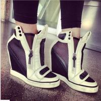 2016 Best Selling Moda Altura Crescente sapatos de Salto Alto Mulheres Sapatos de Cunha de Volta Branco Prata Ouro Cores em Stock Real Fotos