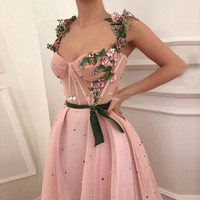 Rose Coral Long Prom Dress with Straps Colorful Pearls Floral Embroidery Special Occasion Dresses for Girls Evening Party Gowns