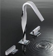 Pont monté 3 trou bassin mélangeur blanc et chrome bassin robinet grue blanche salle de bains robinet mitigeur robinet d'eau pour salle de bains