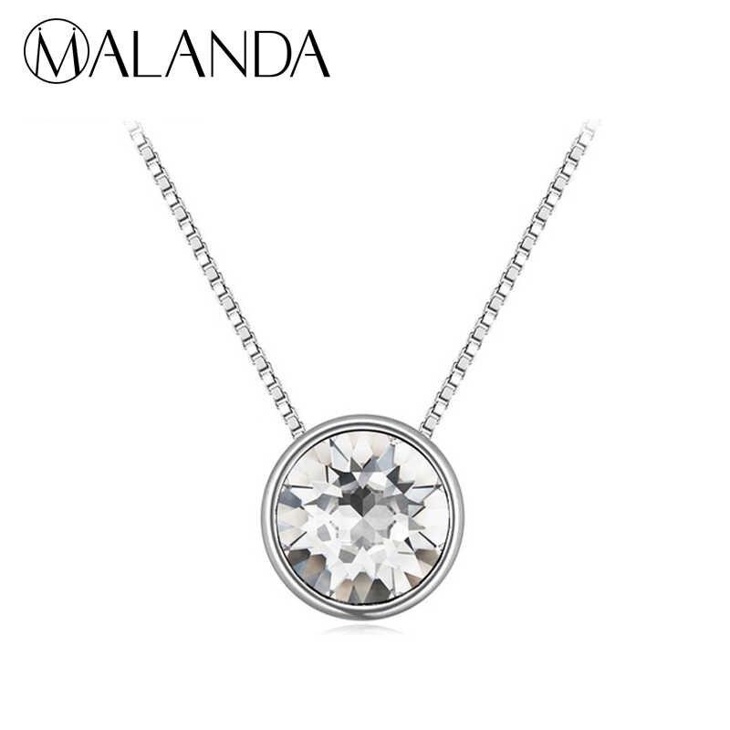 6c46a138f MALANDA Brand Fashion Circular Pendant Round Crystal From Swarovski  Statement Necklaces For Women Wedding Jewelry Girl