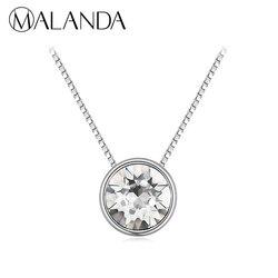 MALANDA Brand Fashion Circular Pendant Round Crystal From Swarovski Statement Necklaces For Women Wedding Jewelry Girl Gift