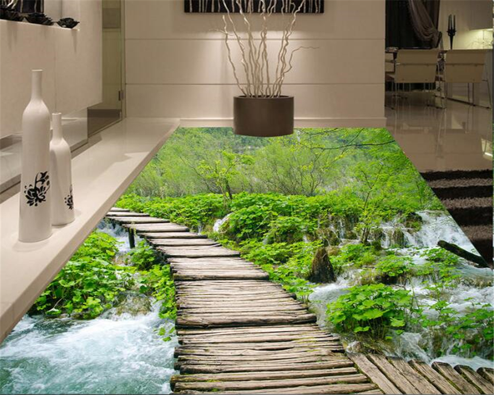 beibehang 3D Fashion custom advanced decorative painting wallpaper outdoor stream creek fantastic water floor tiles 3d wallpaper in Wallpapers from Home Improvement