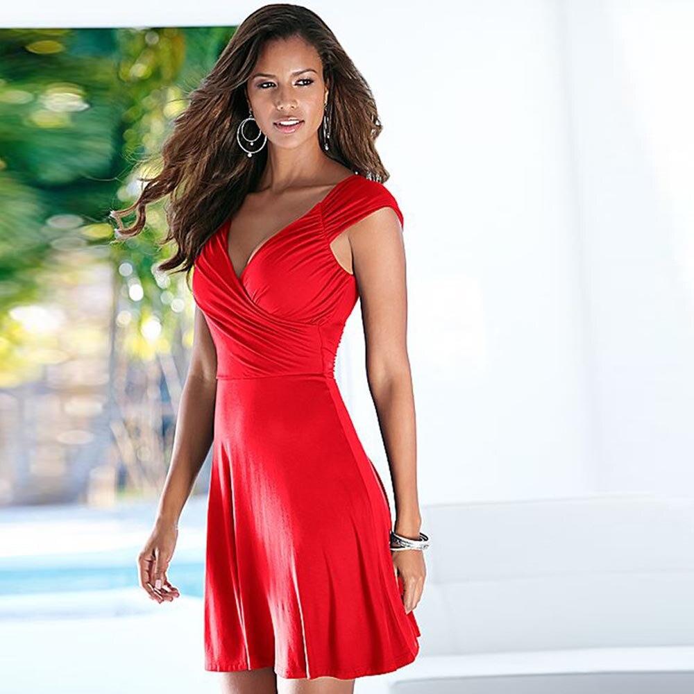 Mujeres atractivas del verano vestidos de cuello en v profundo backless dress sl