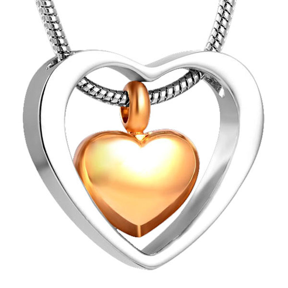 MJD8078 MJD8078 Double Heart Golden Cremation Urn Matal Stainless Steel Funeral Souvenirs Pendant (Pendant Only)