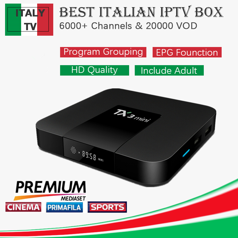 Best Italy IPTV TX3 Mini Android 7 1 Smart TV Box Almlogic S905W with 1 year