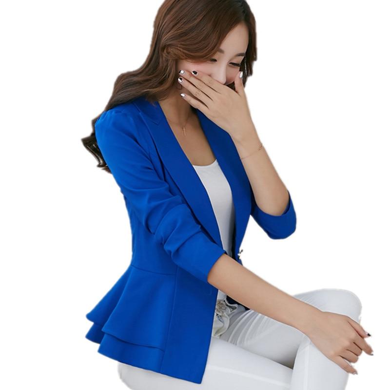 2017 Women Blazer One button Candy Color Women Jackets Ladies Fashion Slim Office Coat Ruffle Blazer Female Outerwear BL006