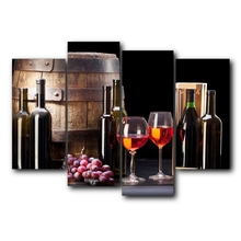 Laeacco 4Pcs Canvas Calligraphy Painting Red Wine Grapes Barrel Poster Print Picture Wall Artwork Home Restaurant Decor