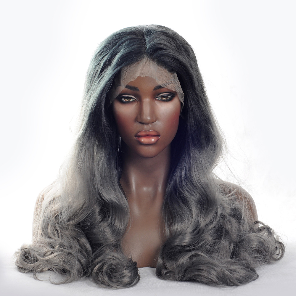 V'NICE Fashion Ombre Dark Grey Body Wave Synthetic Lace Front Wig Black Roots to Gray Heat Resistant Wigs for Women 20-24in